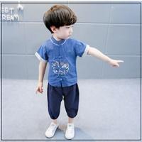 ชุดเสื้อกางเกงจีน-ปักลายนก-The-Eagle-สีน้ำเงิน