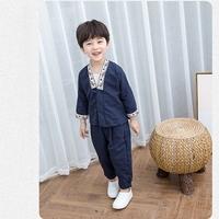 ชุดเสื้อกางเกงจีนคอวี-ปักลายนกกระยาง-สีน้ำเงิน