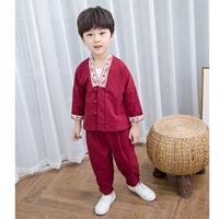 ชุดเสื้อกางเกงจีนคอวี-ปักลายนกกระยาง-สีแดง