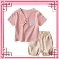 ชุดเสื้อกางเกงจีน-ปักลายมังกร-สีชมพู