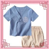 ชุดเสื้อกางเกงจีน-ปักลายมังกร-สีฟ้า