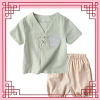 ชุดเสื้อกางเกงจีน-ปักลายมังกร-สีเขียวอ่อน