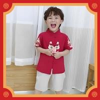 ชุดเสื้อกางเกงจีนคอจีน-ลายหัวมังกร-สีฟ้า