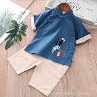 ชุดเสื้อกางเกงจีนคอจีนลายดอกบัว-สีกรม