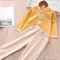 ชุดเสื้อกางเกงจีนแขนยาว-สีเหลืองมัสตาร์ด