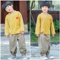 ชุดเสื้อกางเกงจีน-ลายอักษรจีน-สีเหลือง