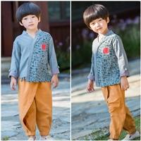ชุดเสื้อกางเกงจีน-ลายอักษรจีน-สีเทาอมฟ้า