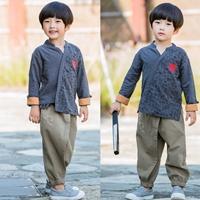 ชุดเสื้อกางเกงจีน-ลายอักษรจีน-สีกรม