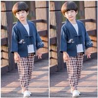 ชุดเสื้อกางเกงจีน-ปักลายนก(ได้-3-ชิ้น)-สีกรม