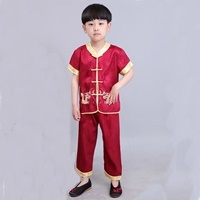 ชุดเสื้อกางเกงจีน-มังกรทอง-อาตี๋น้อย-สีแดง-
