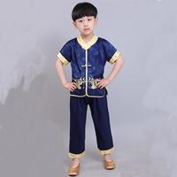 ชุดเสื้อกางเกงจีน-มังกรทอง-อาตี๋น้อย-สีน้ำเงิน