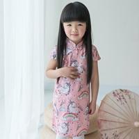 เดรสกี่เพ้าจีน-Unicorn-สีชมพู