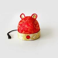 หมวกจีน-มีหูแต่งคริสตัลแต่งเชือกดำ-สีแดง