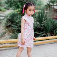 เดรสกี่เพ้าตรุษจีน-เหมยลี่-ลายดอกไม้สีชมพู