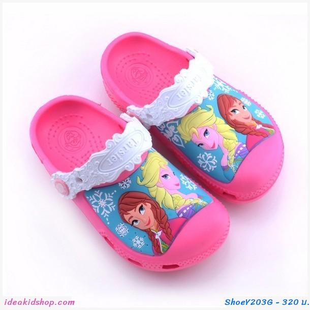 รองเท้าเด็กสไตล์ Frozen ชมพูเข้ม