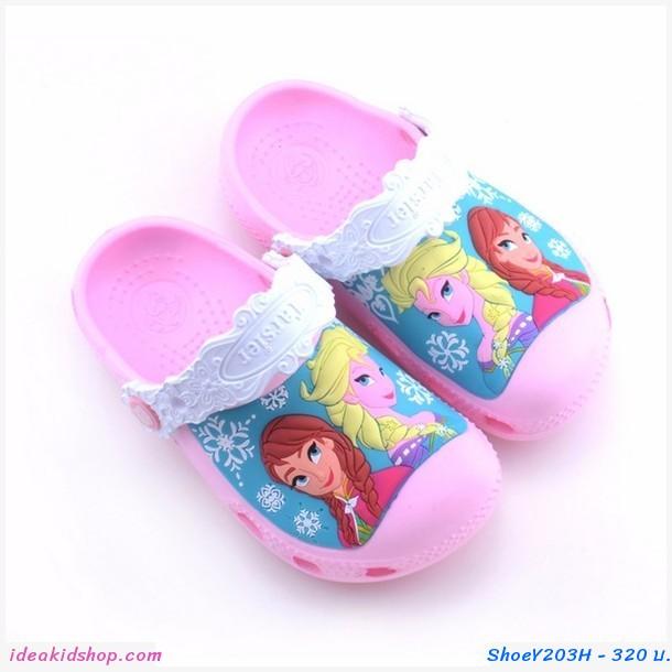 รองเท้าเด็กสไตล์ Frozen ชมพูอ่อน
