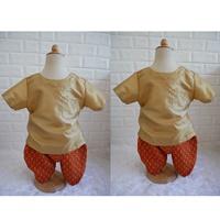 ชุดไทยเด็กเสื้อพื้นไหมญี่ปุ่น_โจงผ้าลายไทย-สีทอง