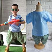 ชุดไทยเด็กเสื้อพื้นไหมญี่ปุ่น_โจงผ้าลายไทย-สีฟ้า