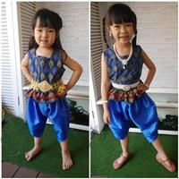 ชุดไทย-เสื้อคอเหลี่ยมลายไทย-โจงไหมญี่ปุ่น-สีกรม
