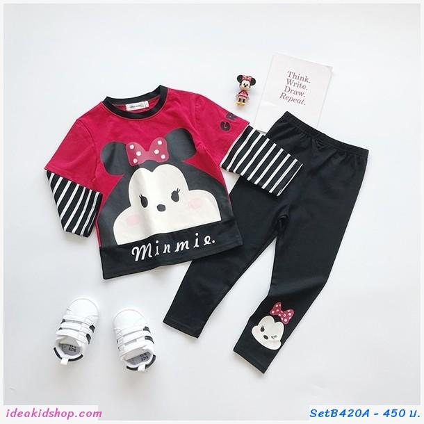 ชุดเสื้อกางเกงเด็กแขนลายทาง Minnie สีดำแดง