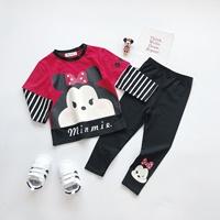 ชุดเสื้อกางเกงเด็กแขนลายทาง-Minnie-สีดำแดง