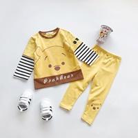 ชุดเสื้อกางเกงเด็กแขนลายทาง-Pooh-สีเหลือง