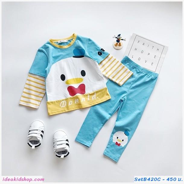 ชุดเสื้อกางเกงเด็กแขนลายทาง Donald Duck สีฟ้า