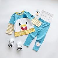 ชุดเสื้อกางเกงเด็กแขนลายทาง-Donald-Duck-สีฟ้า