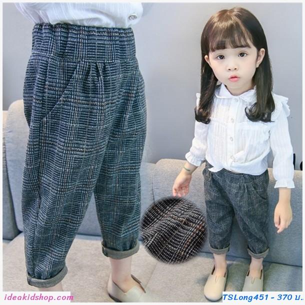 กางเกงแฟชั่นเกาหลีขาจั๊ม ลายตาราง