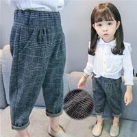 กางเกงแฟชั่นเกาหลีขาจั๊ม-ลายตาราง