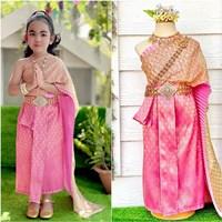 ชุดไทยสไบพีทและกากเพชร_ผ้าถุงหน้านาง-สีชมพู