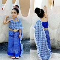ชุดไทยหนูน้อยนพมาศ-ลูกไม้_ผ้าถุงหน้านาง-สีน้ำเงิน