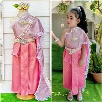 ชุดไทยหนูน้อยนพมาศ-ลูกไม้_ผ้าถุงหน้านาง-สีชมพู