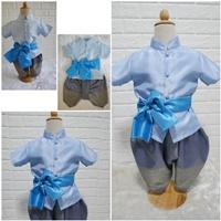 ชุดไทยเด็กชายพร้อมผ้าพาด-พี่หมื่นพาสเทล-สีฟ้า