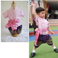 ชุดไทยเด็กชายพร้อมผ้าพาด-พี่หมื่นพาสเทล-สีชมพู