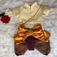 ชุดไทยเด็กชายพร้อมผ้าพาด-พี่หมื่นพาสเทล-สีครีม