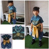 ชุดไทยเด็กชาย_ผ้าพาด-พี่หมื่น-ลายไทย-สีฟ้า
