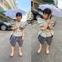 ชุดไทยเด็กหญิง-นางหงส์ลายไทย-สีเทา