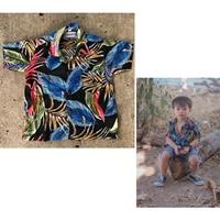 เสื้อฮาวายลายใบไม้-สีน้ำเงิน
