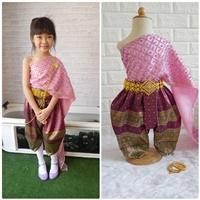 ชุดไทยนางนพมาศ-สไบมุก-โทนสีชมพู