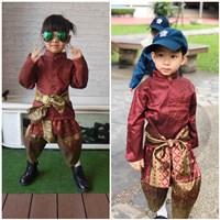 ชุดไทยเด็กชายราชปะแตนแขนยาว_ผ้าพาด-พี่หมื่น-สีแดง