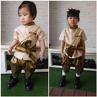 ชุดไทยเด็กชายแต่งคอและกระเป๋า-พี่หมื่น-สีแชมเปญ