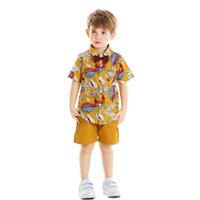 ชุดเสื้อกางเกง-Summerฮาวาย-ผูกโบว์-โทนสีเหลือง