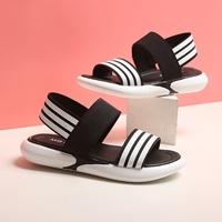 รองเท้ารัดส้นแต่งแถบ-สไตล์-Sport-สีดำ