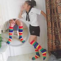ถุงเท้ายาวแฟชั่น-ลายสายรุ้ง-Rainbow