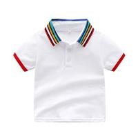 เสื้อเชิ้ตคอปกแขนสั้น-แต่งแถบ-สีขาว