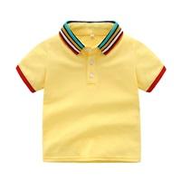 เสื้อเชิ้ตคอปกแขนสั้น-แต่งแถบ-สีเหลือง