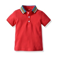 เสื้อเชิ้ตคอปกแขนสั้น-แต่งแถบ-สีแดง