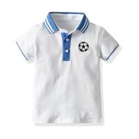 เสื้อเชิ้ตคอปกแขนสั้น-ปักลายฟุตบอล-สีขาว