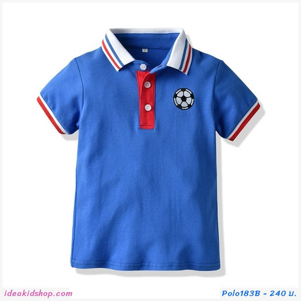 เสื้อเชิ้ตคอปกแขนสั้น ปักลายฟุตบอล สีน้ำเงิน